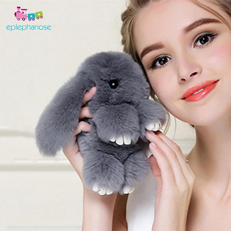 13Cm Plush Rabbit Cute Soft Toy Girls Bag Keychain Pendant Real Fur Rabbit Fluffy Doll Keychain Key Ring Stuffed Animals