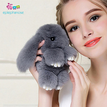 13Cm Plush Rabbit Cute Soft Toy Girls Bag Keychain Pendant Real Fur Fluffy Doll Key Ring Stuffed Animals