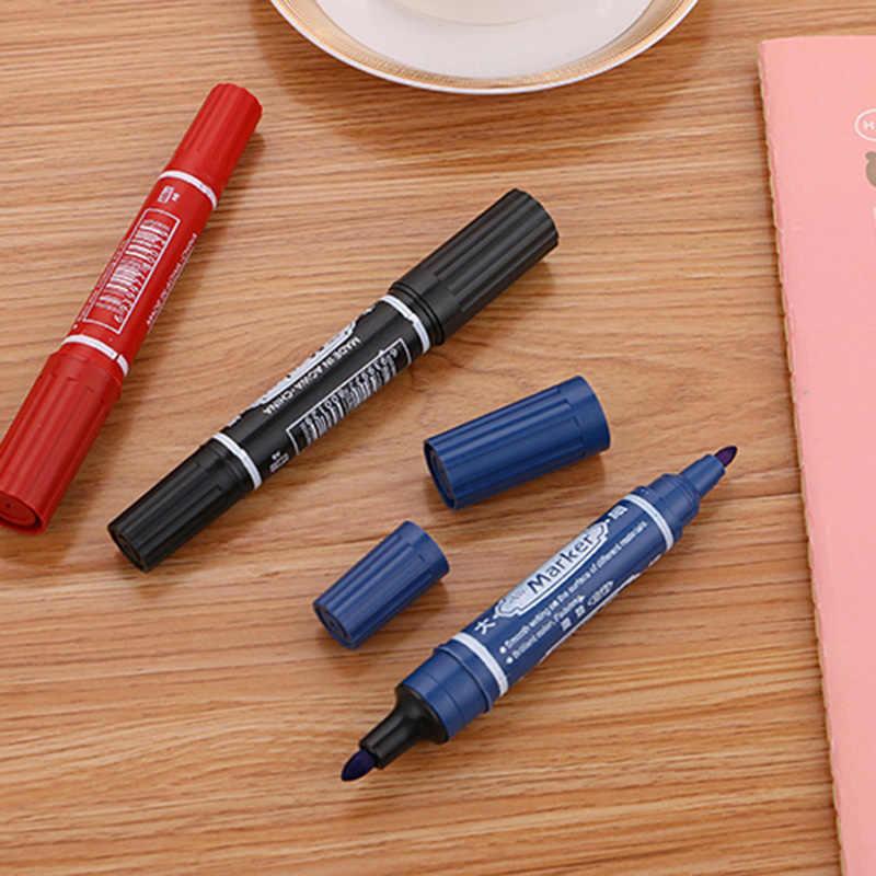 Kawaii مزدوجة رئيس الملونة الطلاء علامات لطيف كبير قلم تحديد دائم للمدرسة الكورية القرطاسية اللوازم المكتبية