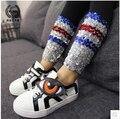 Granos hechos a mano de color de corea pantalones delgados 2016 Del Otoño Nuevos Niños Polainas de Las Muchachas envío gratis
