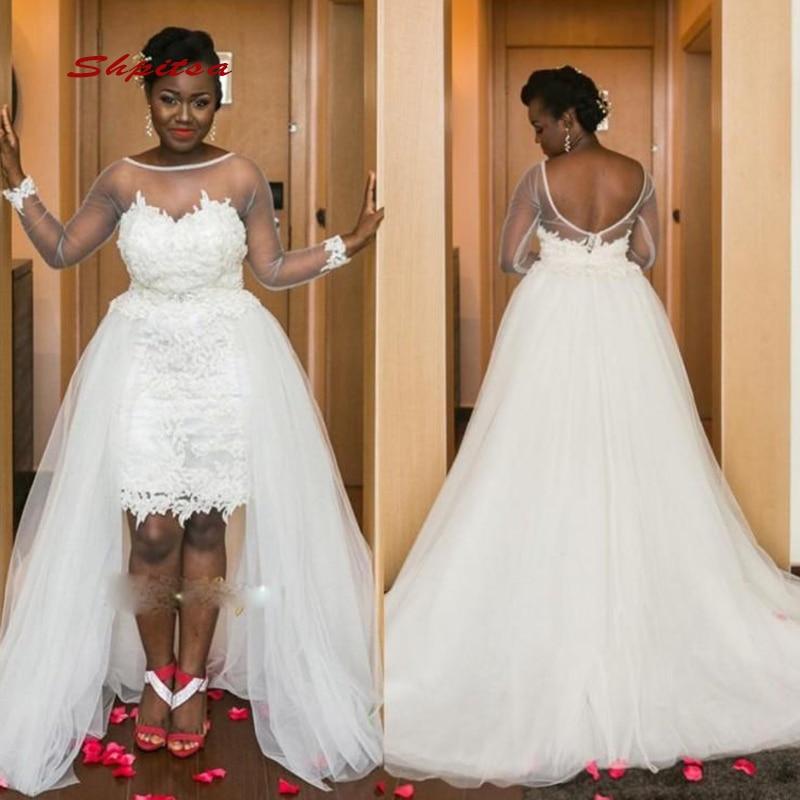 US $159.3 10% OFF|Long Sleeve Lace Wedding Dresses Detachable Skirt Tulle  Plus Size Bride Bridal Weding Weeding Dresses Wedding Gowns 2019-in Wedding  ...
