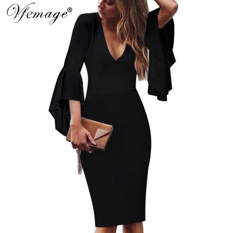 Vfemage Womens Sexy V-hals Flare Bell Lange Mouwen Elegante Werk Business Casual Party Slim Schede Bodycon Pencil Dress 7925