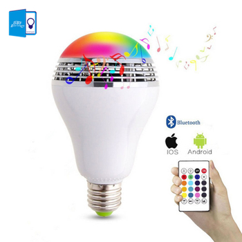 Regulable E27 10 W RGB bombilla LED Bluetooth iluminación lámpara Color ajustable altavoz música luces bombilla con RF 24key Control remoto