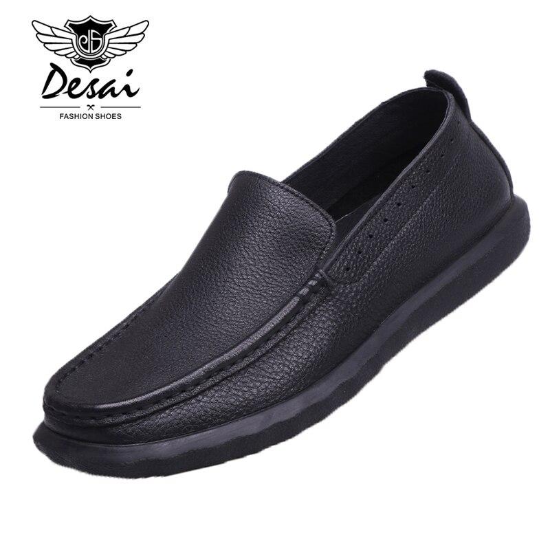 Slip Desai Genuíno Sapatos Nova Negócios Black Ocasional Preto Marrom Respirável Condução Shoes De brown Dos on Homens Couro Preguiçosos n1q8YEw1xr
