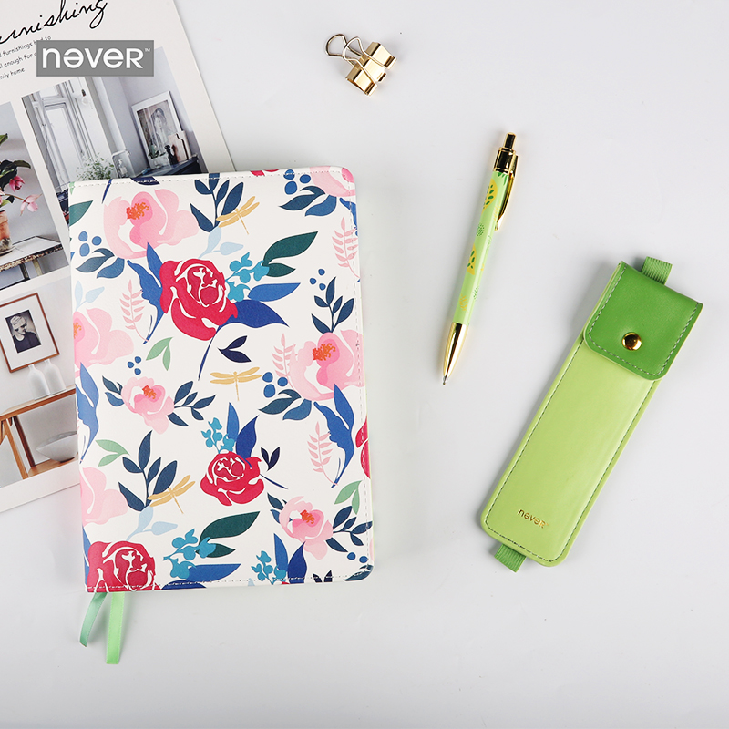 Never Floral A5 Pu Leather Cover Notebook Planner Pencil Metal Pen Stationery Set Gift Kit Business Office Accessories SuppliesNever Floral A5 Pu Leather Cover Notebook Planner Pencil Metal Pen Stationery Set Gift Kit Business Office Accessories Supplies