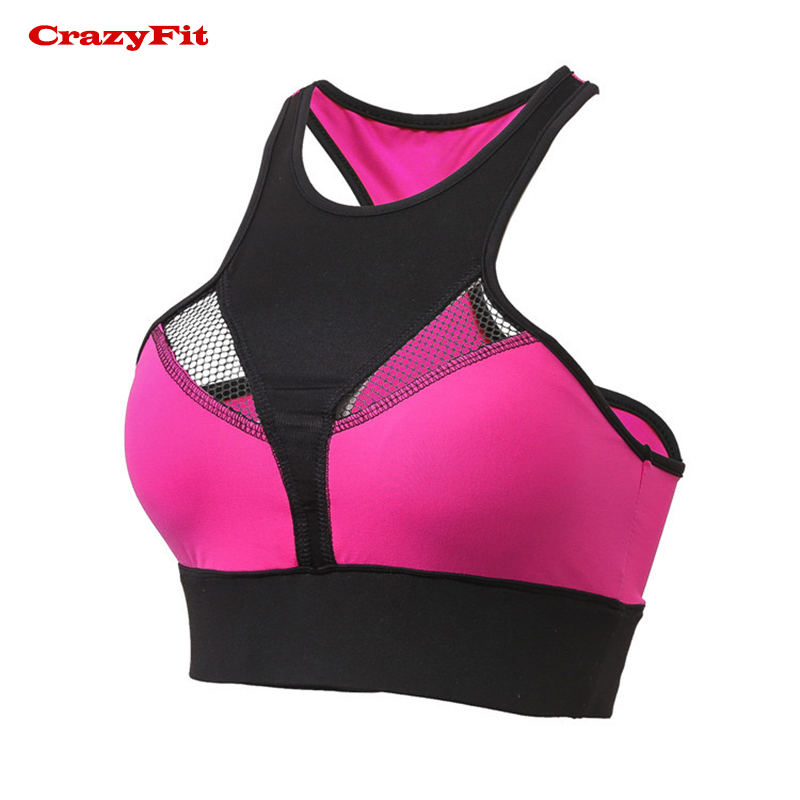 Crazyfit Mesh Hollow Out Brassiere Sport Bra Top High Support Crop 2018 Pink Women Sports Sexy Running Push Up Padded Ladies Bra