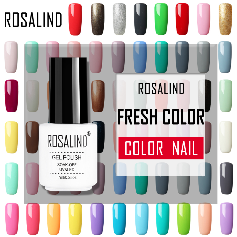 ROSALIND Nail Gel Polish Pure Color Use With Nail Stickers Soak Off UV Gel Nail Polish For Nails Art Manicure Design Decoration fwc nail stickers on nails blooming flower stickers for nails lavender nail art water transfer stickers decals