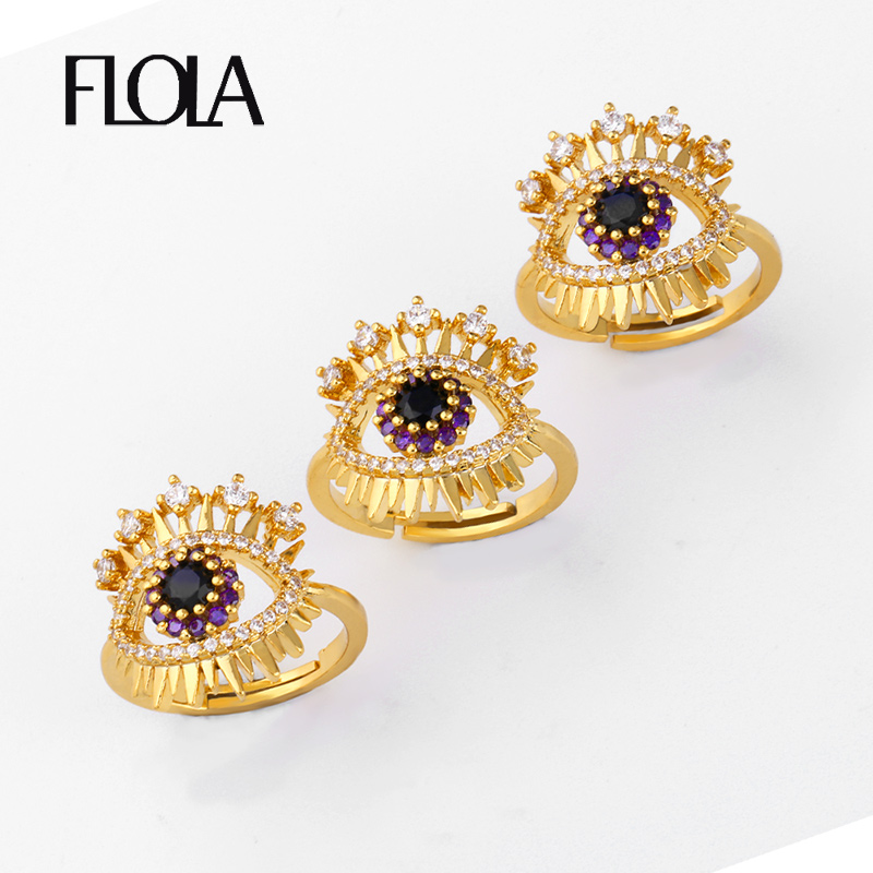 FLOLA Gold Filled Evil Eye Ring Woman CZ Turkish Adjustable Pave Zircon Jewelry anillos mujer ojo turco rih82