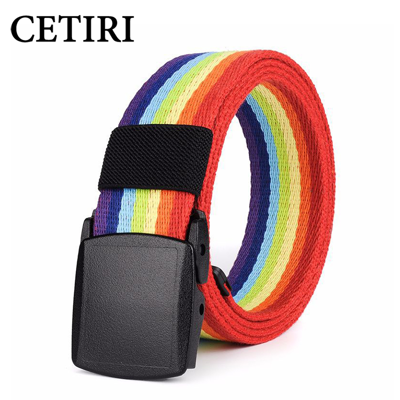 CETIRI 3.7cm Hypoallergenic Belt Buckle Rainbow Canvas Belt Luxury Brand Men Women Military Belt Jeans Casual Straps ceintures