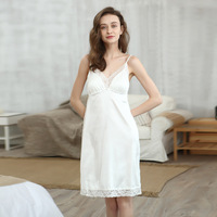 One Size Night Dress Nightgown Nightdress Lace Patchwork Camisola Lingerie Night Silk Dress Sleep Wear Nightdress Clothes
