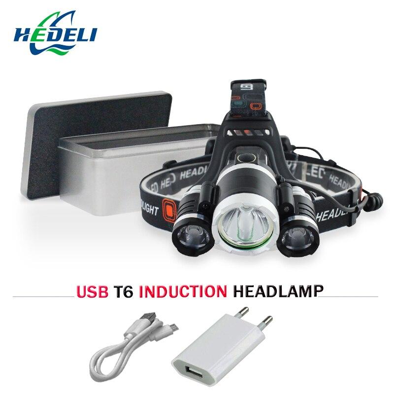 Strong-Willed Very Powerful Headlamp Sensor Headlight 3 Cree Xml T6 Led Head Flashlight 18650 Rechargeable Battery Headlights Head Light Without Return Lights & Lighting Headlamps