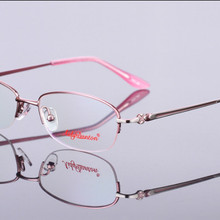 New fashion women customized myopia glasses alloy half-rim o