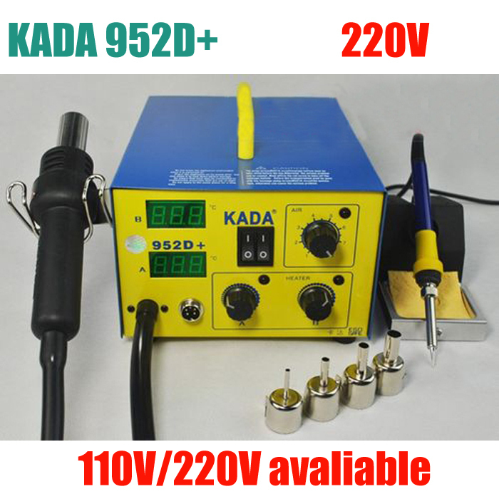 220V KADA 952D+ Dual Digital Display 2 in1 Hot Air Gun Solder Iron Soldering Station