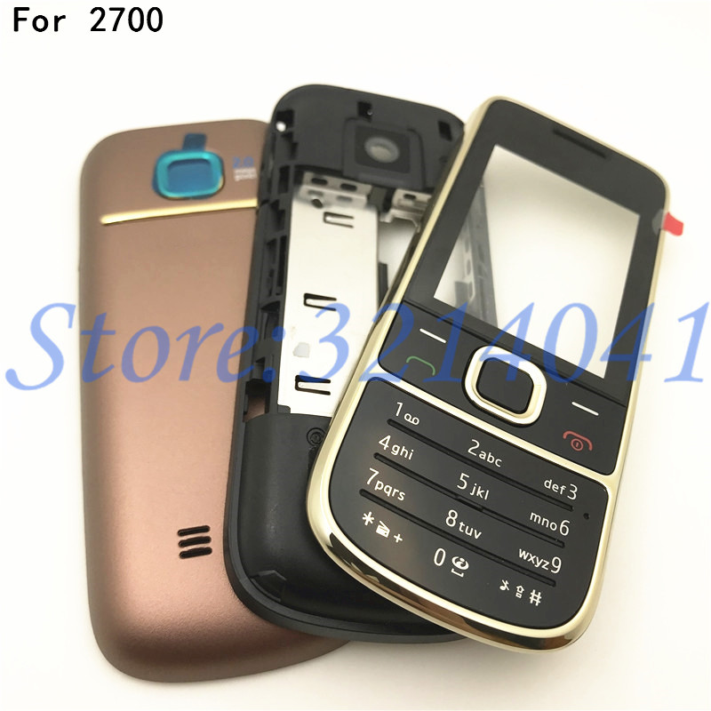 Top Quality Full Complete Mobile Phone Housing Cover Case For Nokia 2700 2700c With English Keypad+Logo