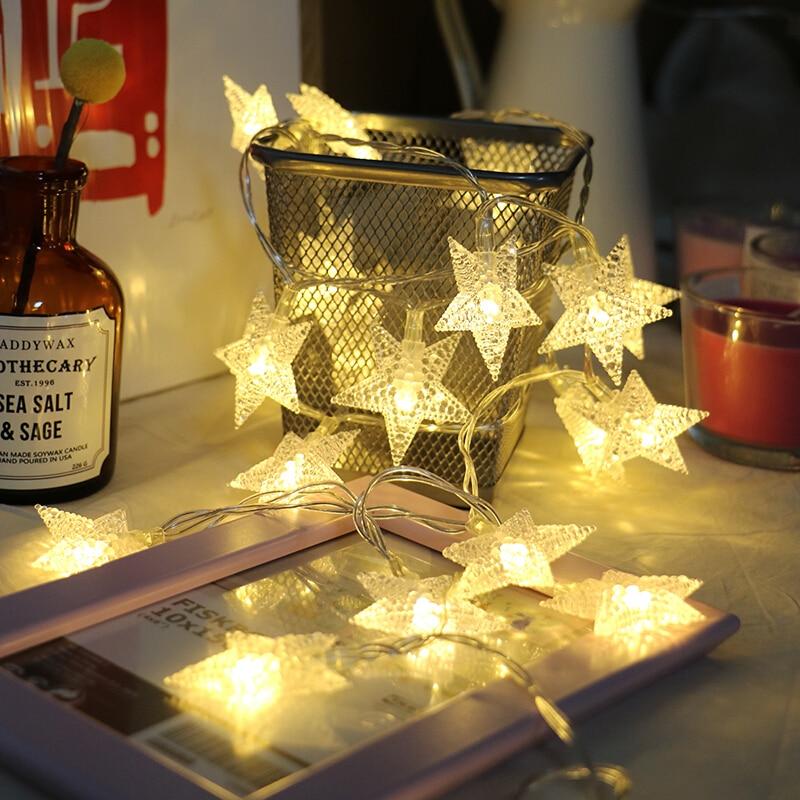 220V 10M 50Led Lampu Krismas Pokok Salji Bintang String Fairy Lampu - Pencahayaan perayaan - Foto 4