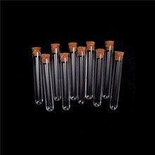 100 Uds. 16x100mm Tubo de ensayo de plástico con tapón de corcho transparente como vidrio, experimento de laboratorio Favor regalo
