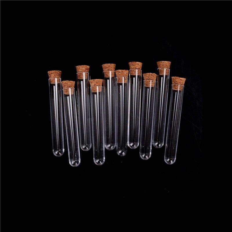 100 pz 16x100mm Provetta di Plastica Con Tappo di Sughero Come Il Vetro, Esperimento di laboratorio di Favore del Regalo