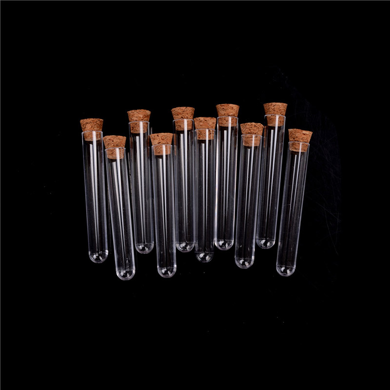 100pcs 16x100 Mm Plastic Test Tube With Cork Stopper Clear Like Glass ,Lab Experiment Favor Gift