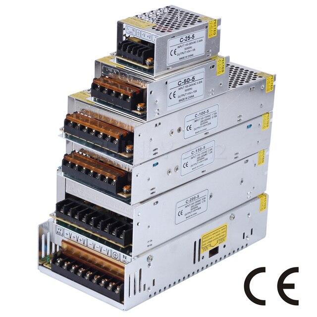 Светодио дный Питание DC5V 2A/5A/10A/20A/30A/40A/60A10W-300W светодио дный драйвер для WS2812 WS2812B WS2813 APA102 SK6812 переключатель трансформатор
