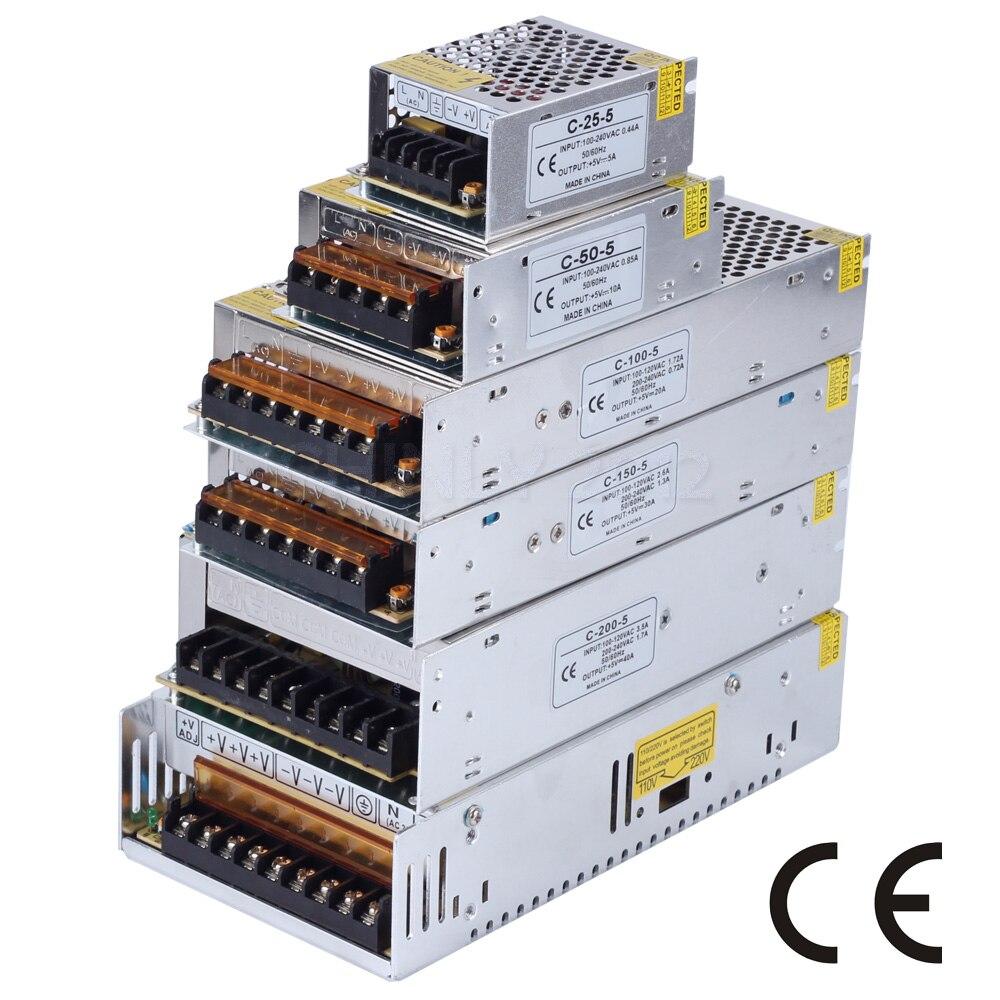 Led-netzteil DC5V 2A/5A/10A/20A/30A/40A/60A10W-300W Led-treiber Für WS2812 WS2812B WS2813 APA102 SK6812 Schalter Transformator