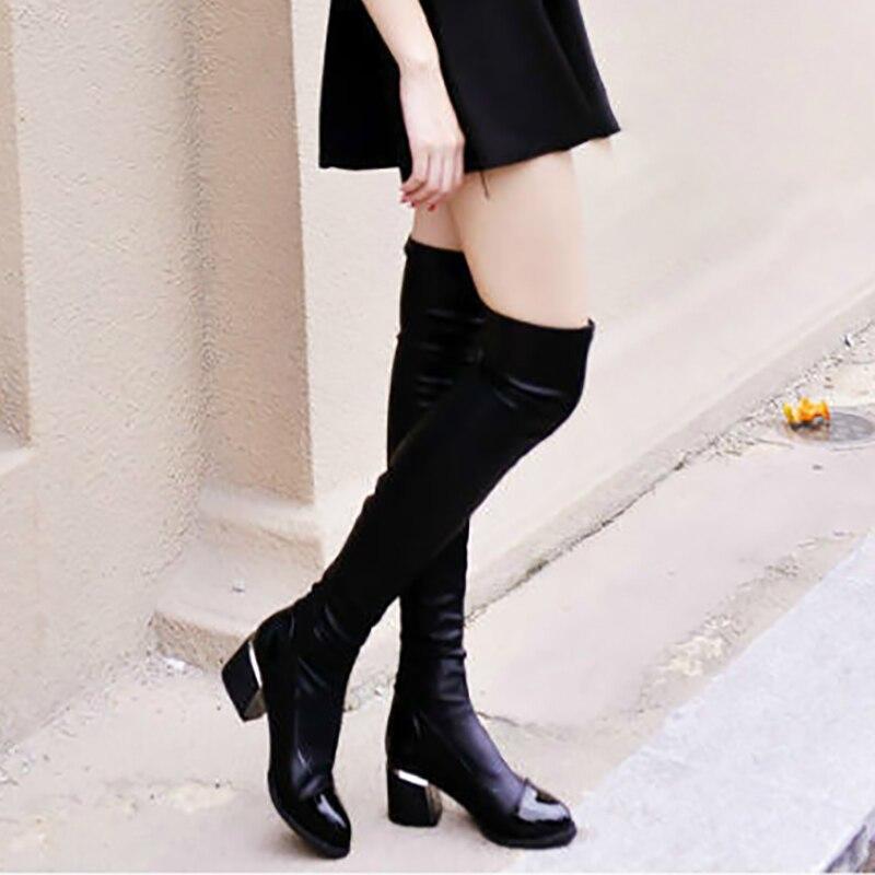 Autum Autum D'hiver Sexy black Cuisse Black Winter Talons For Slim Genou Bloc Fit 6 Bottes Dames Longues Mode Cm Chaussures De Sur Femmes Stretch nqF41wT