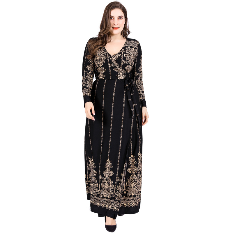 6XL Large Size Muslim Long Skirt V-neck Long Sleeve Printed Tied Slim Dress High Quality Elastic Temperament High Quality Dress
