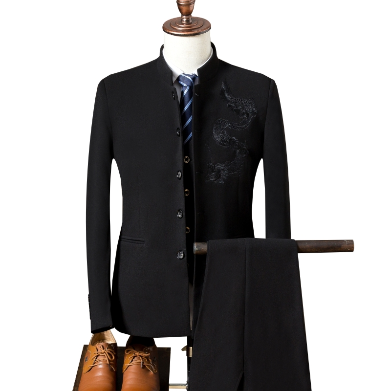 Blazers men's Chinese style suit 3 piece set (coat + vest + pants) high end embroidery Slim stand collar wedding banquet suits