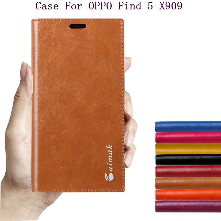 For OPPO Find5 Phone Cases Luxury Natural Genuine Leather Fashion Book Style Case For OPPO Find