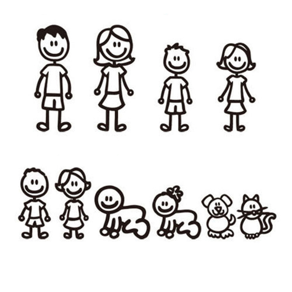 10pcs Fashion Stick Figure My Family Car Stickers with Pet