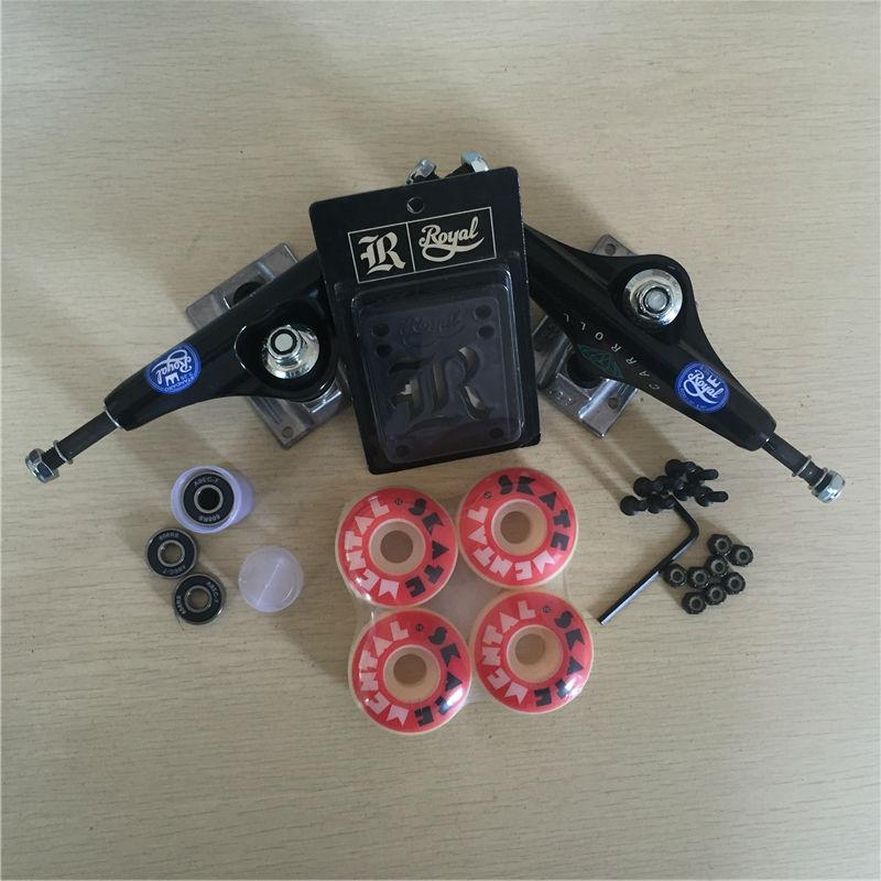 Peças de skate REAL 5.25 Caminhões Do Skate 51mm 52mm Rolamentos de Skate Rodas & ABEC 7 Plus Royal Almofadas de Riser & UM Conjunto de Hardware - 6