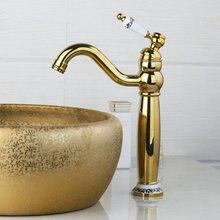 Лучшие высокие Полированная Золотой поворотный 360 палубе крепление латунь 97155 керамический Одной ручкой Кухня torneira Cozinha раковина смеситель кран