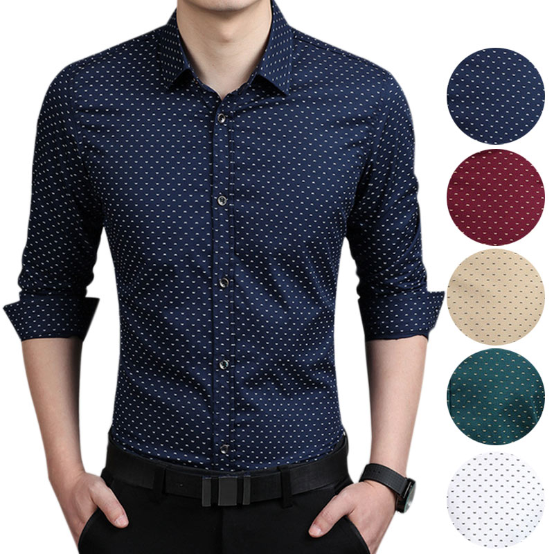 Fashion Men Slim Fit Long Sleeve Shirt Polka Dot Casual Business Shirt Tops Plus Size 5XL Camisa Masculina Camiseta Masculina