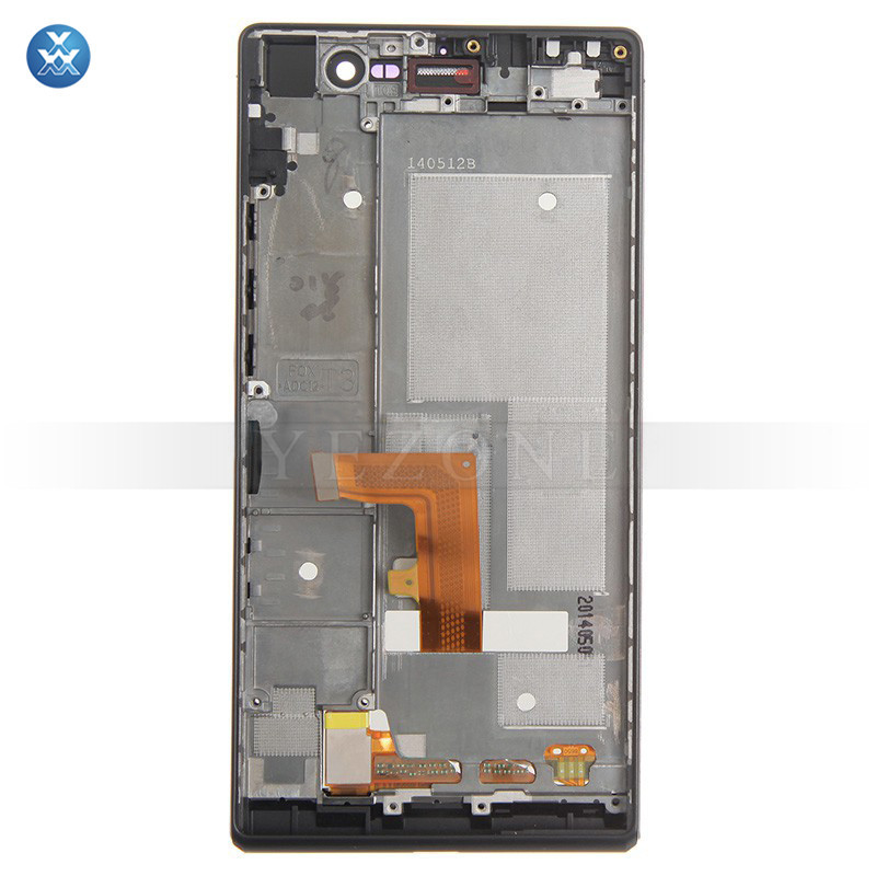 For Huawei Ascend P7 LCD Screen and Digitizer Assembly with Frame Replacement - Black - With Huawei Logo Only - Grade S+ 1