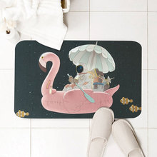Flamingo Carpet Slim Toilet Door Mat Bathroom Non-slip Water-absorbing Quick-drying Rug