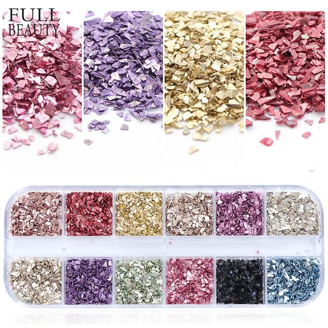 3D Irregular Champagne Glitter Flakes Slice Nail Paillette Sequins Mixed 12 Color Manicure Sets Nail Art Decor Gel Dust CHLY