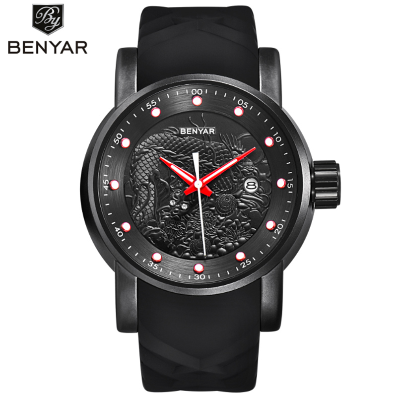 relogios Military Watch men Leather Strap Watches Mens erkek Top Brand Luxury Benyar Quartz Watch reloj hombre Relogio Masculino in Quartz Watches from Watches