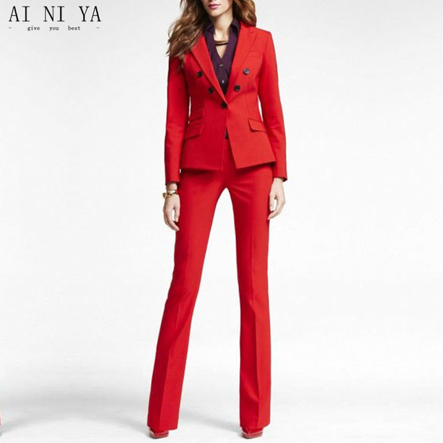 Red 2 piece set women business suits blazer with pants ladies office  uniform formal pant suits for weddings tuxedo CUSTOM. 1 order a295db704