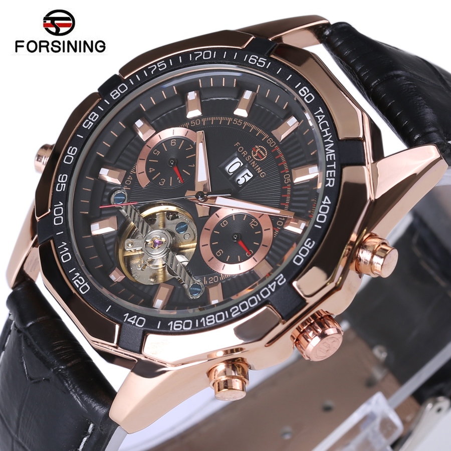 Luxury Brand Rose Gold Design Watches Forsining Men Automatic Watch Mechanical Watch Genuine Leather Strap Men's Wristwatches forsining gold hollow automatic mechanical watches men luxury brand leather strap casual vintage skeleton watch clock relogio