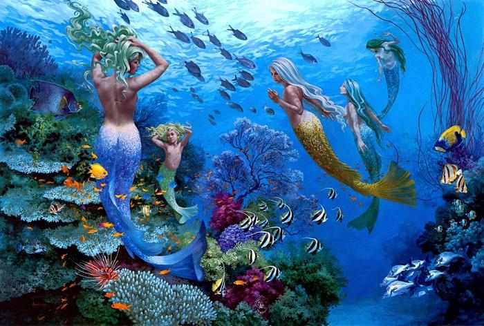 mermaids, Swimming , underwater world HD print on canvas ...