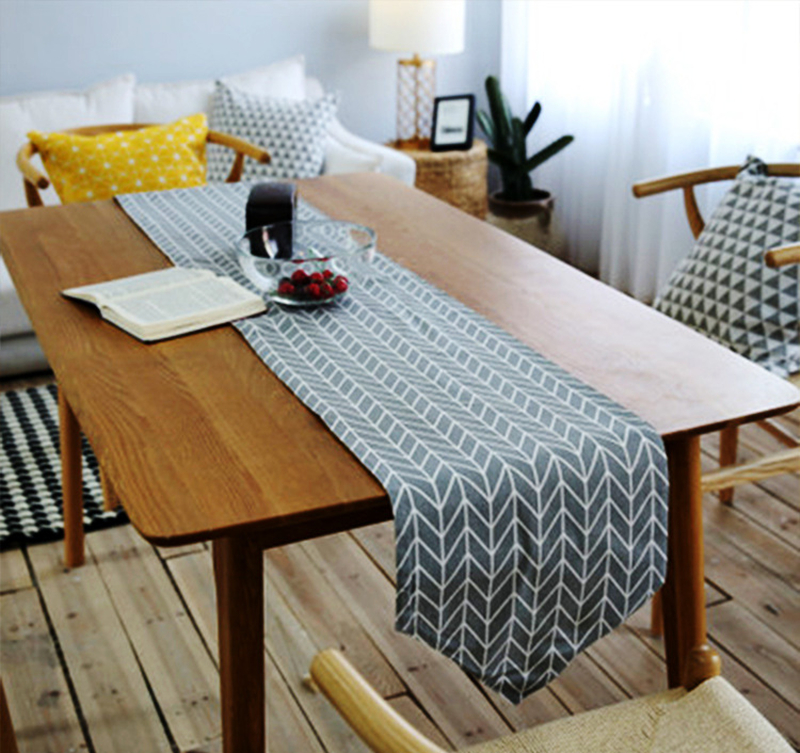 Simple Style Nordique Motif Geometrique Ins Coton Chemin De Table