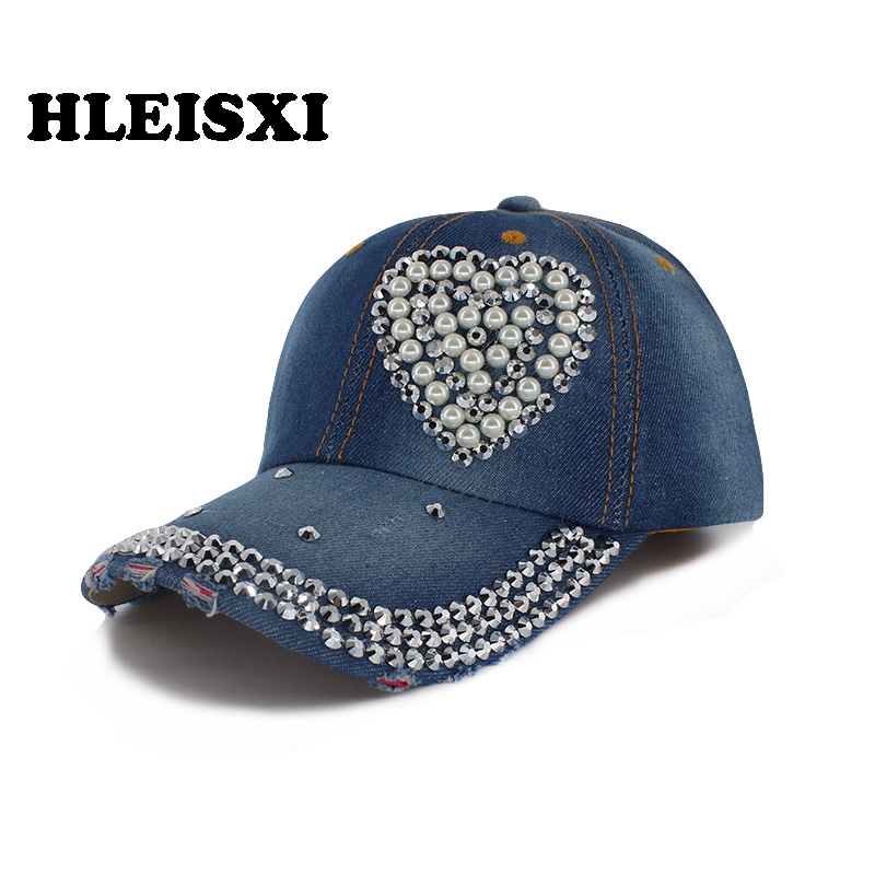 HLEISXI New Fashion Adult Women Love Baseball Cap Summer Casual Caps For Female Denim Hat Adjustable Snap Back Brand Hats