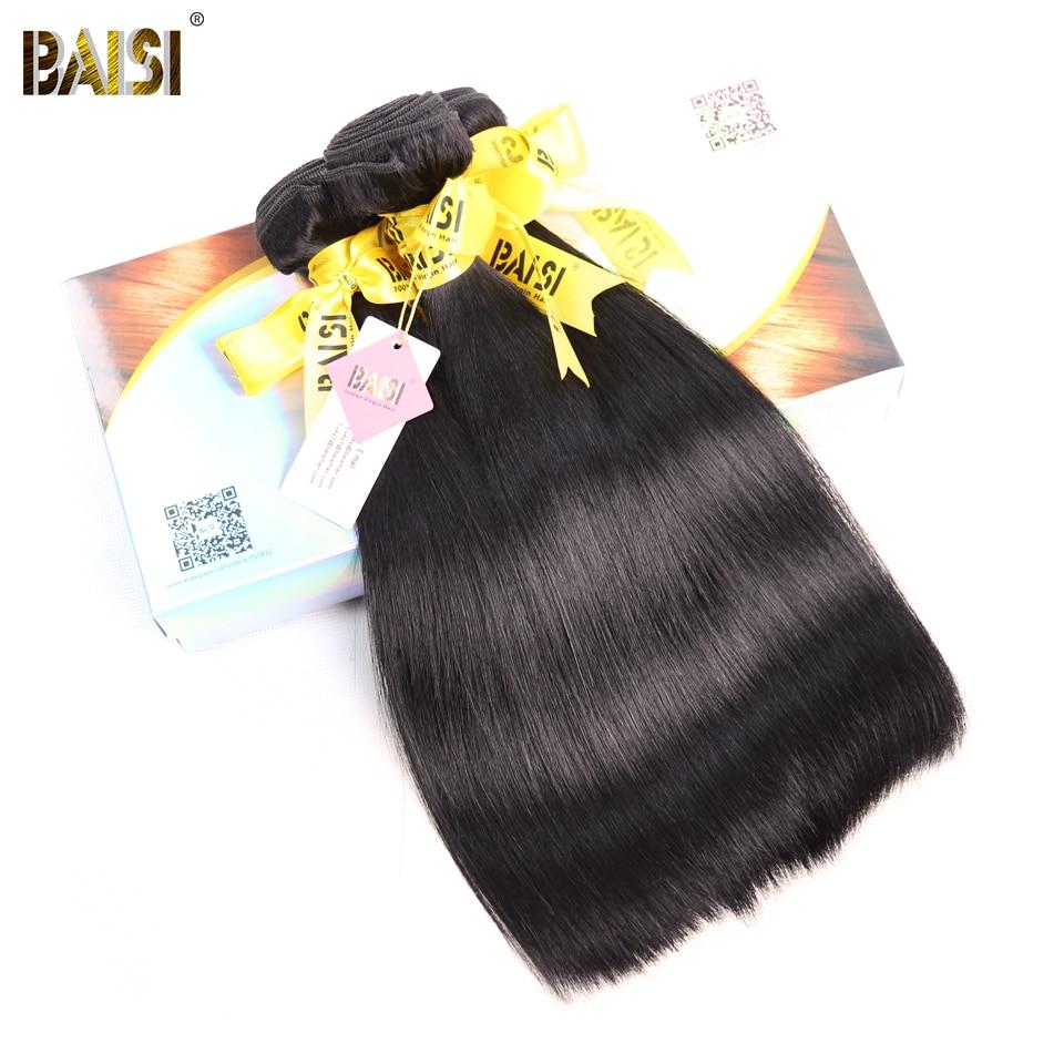 BAISI Hair Unprocessed Indian Raw Virgin Hair Straight Hair Weave 3 Bundles 100 Human Hair