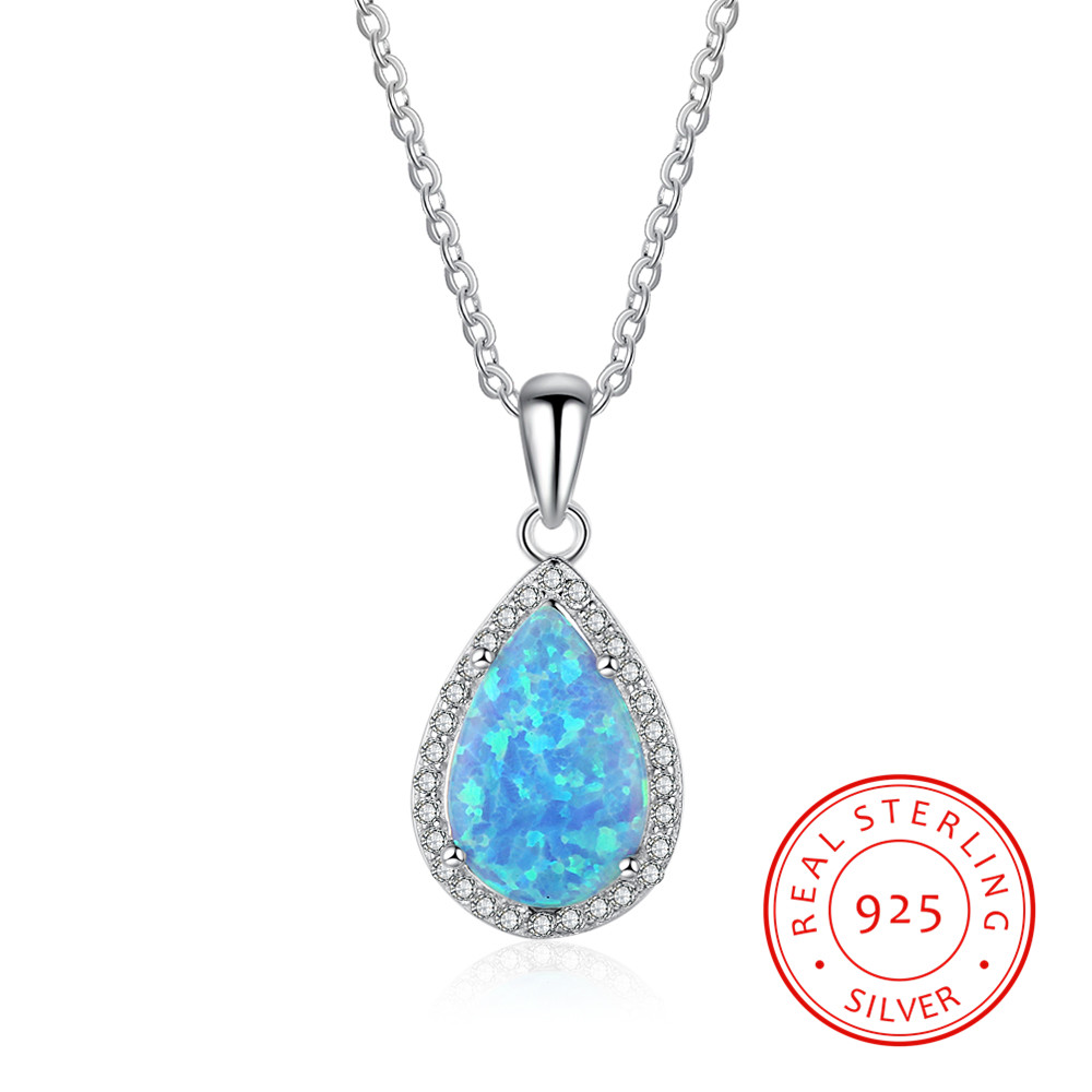 Pretty Blue Fire Opal Water Drop Women Fashion 925 Sterling Silver Necklace With Chain water drop rhinestone chain bracelet with toe ring