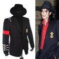 MJ Michael Jackson BAD Clássico raro Preto Do Punk Fivela Casuais Jaqueta Informal Crachá Fivela Terno Blazer
