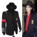 Rare Classic MJ Michael Jackson BAD Punk Black Casual Buckle Jacket Informal Buckle Badge Suit Blazer