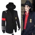 Rare Classic MJ Michael Jackson BAD Punk Hebilla Hebilla Insignia Traje de Chaqueta Informal Chaqueta Negro Ocasional