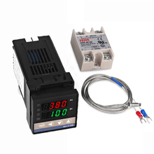 REX-C100 Dual Digital PID Temperature Controller Thermostat SSR output+ 40DA SSR Relay+ K Thermocouple 1m Probe sestos dual digital pid ac dc 12 24v temperature controller 2 omron relay output d1s