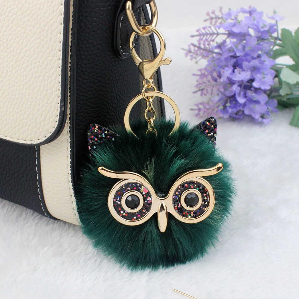 Anel chave do carro charme bolsa pingente de jóias boneca engraçado animal chaveiro chaveiro fofo cor do ponto de pele bonito coruja chaveiros pom pom