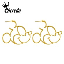 Chereda Silver Mickey Stud Earring for Women Heart Deer Star Flower Shape Simple Earrings Engagement Statement Gift
