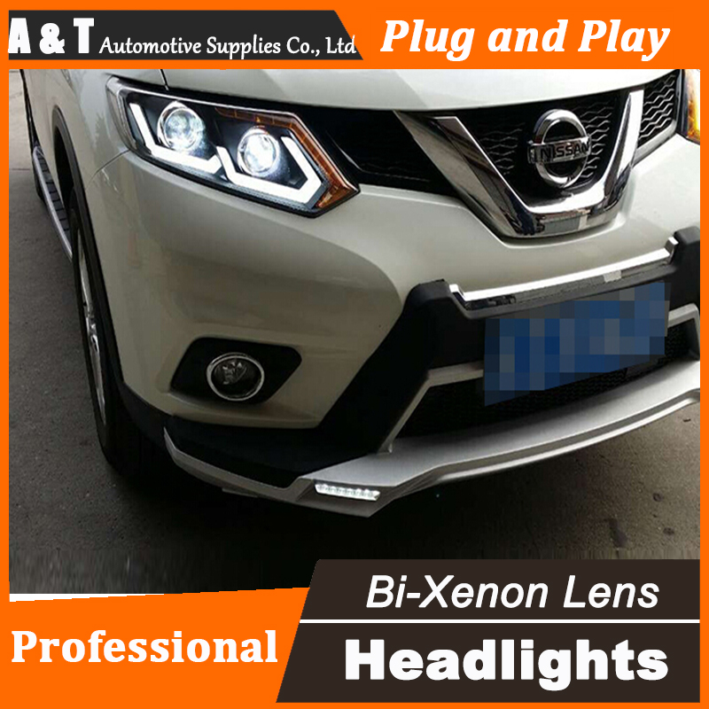 Car Styling for Nissan X-Trail Headlight assembly 2014 Nissan X-Trail LED Headlight DRL Lens Double Beam H7 with hid kit 2 pcs.